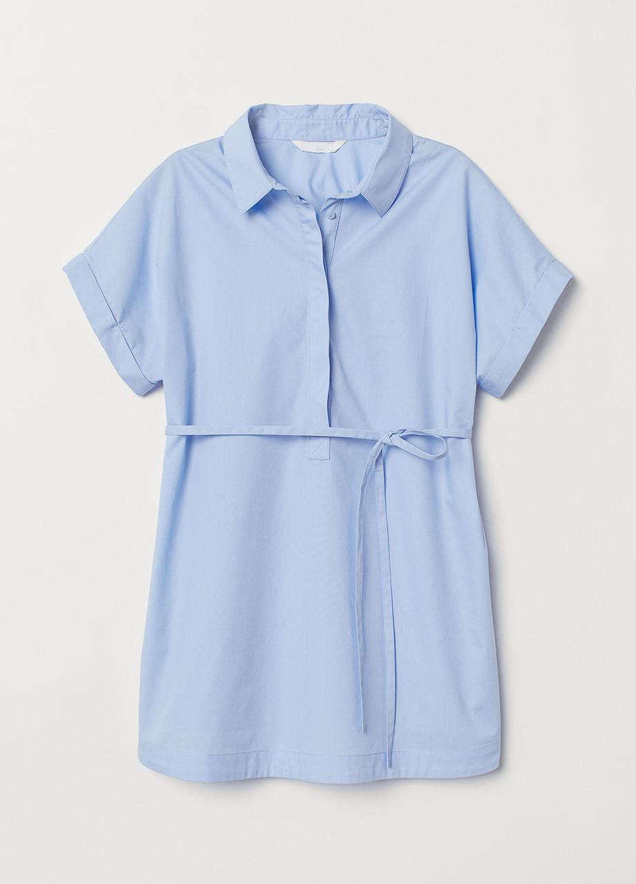 Голубая однотонная блузка H&M летняя