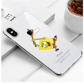 "Чехол TPU прозрачный, мягкий с изображением ""Спанч Боб"" / ""SpongeBob SquarePants"" iPhone 5/5S/SE"