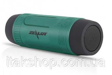 Портативна Bluetooth вело колонка Zealot S1 Ліхтарик Радіо (Зелений)