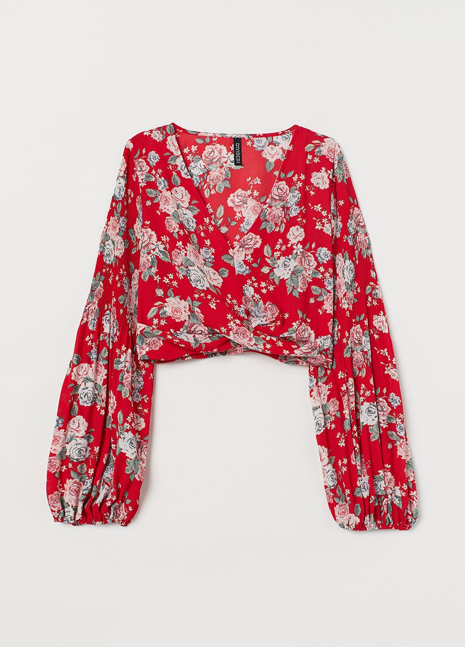 Топ H&M цветочный красный полиэстер