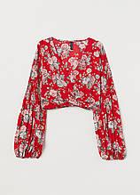 Топ H&M квітковий червоний поліестер