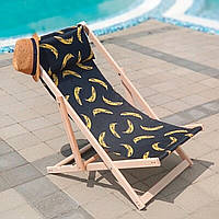 Кресло шезлонг из дерева складное для пляжа, бассейна, дачи, шезлонг деревянный складной, расцветка бананы