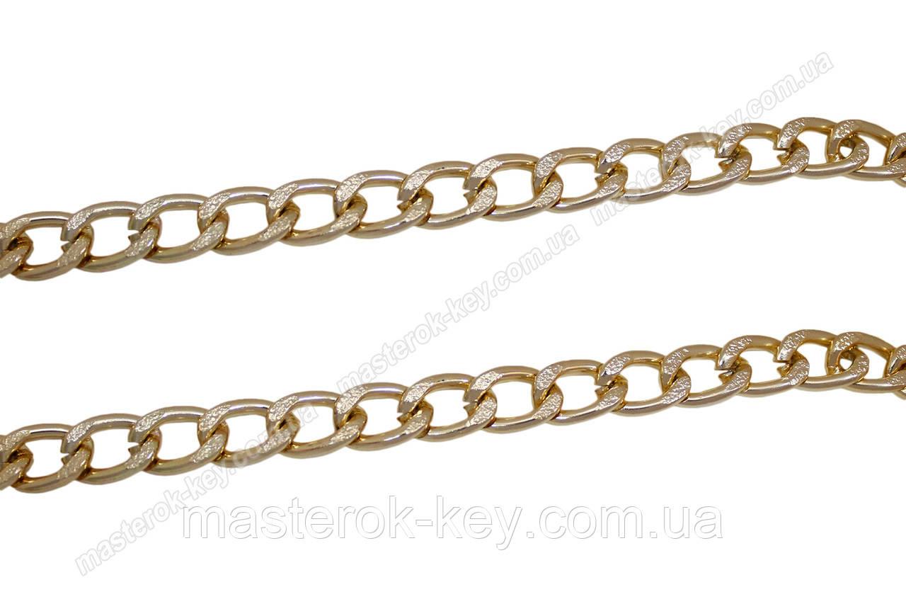 Цепь декоративная метражная металл №20 ширина 19мм цвет золото