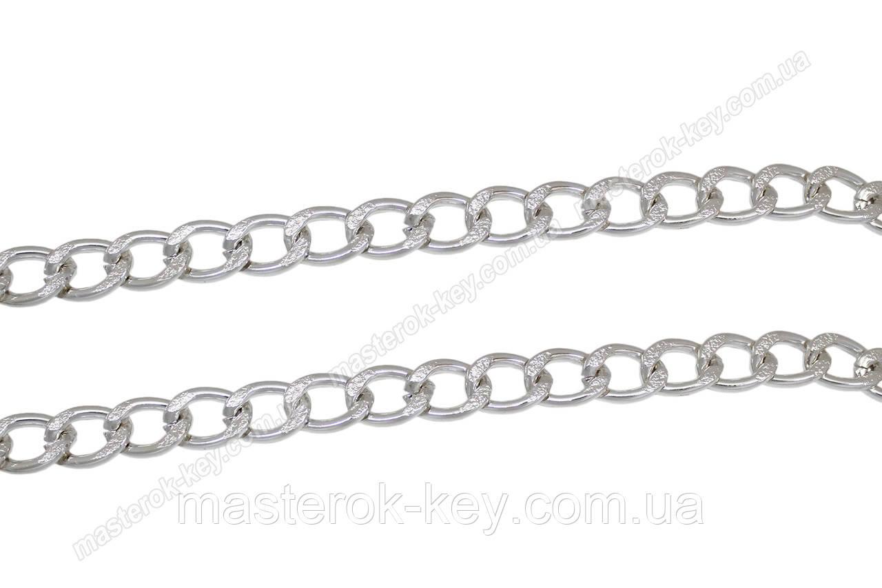 Цепь декоративная метражная металл №20 ширина 19мм цвет никель