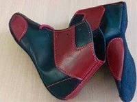 Борцовки кожаные низкие черные c красными вставками