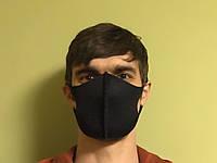 Трехслойная защитная маска многоразовая черная