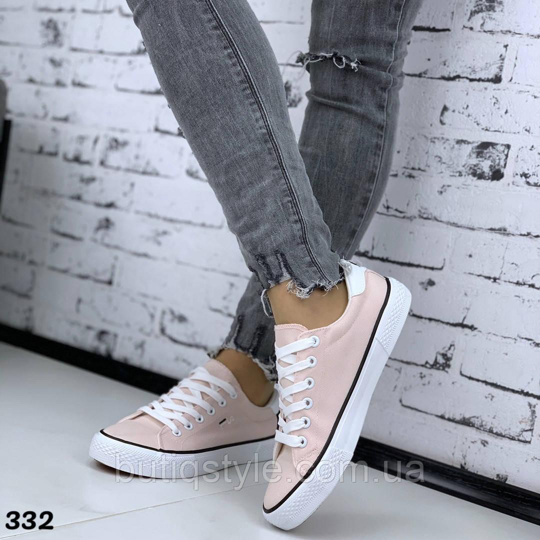 Женские розовые кеды обувной текстиль