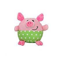 Мягкая игрушка - поросенок зеленые штанишки, 11 см, розовый, полиэстер (M1717111-1)