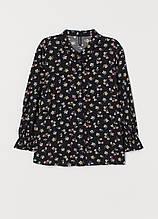 Чорна квіткової забарвлення блуза H&M демісезонна