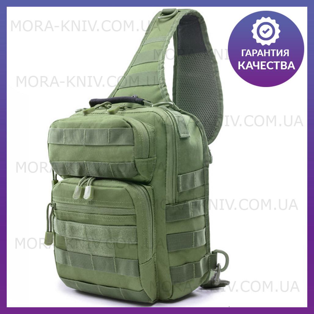 Однолямочный рюкзак, штурмовой тактический рюкзак на 9 литров  Олива (ta9-olive)