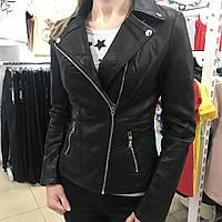 Женская кожаная куртка косуха чёрная