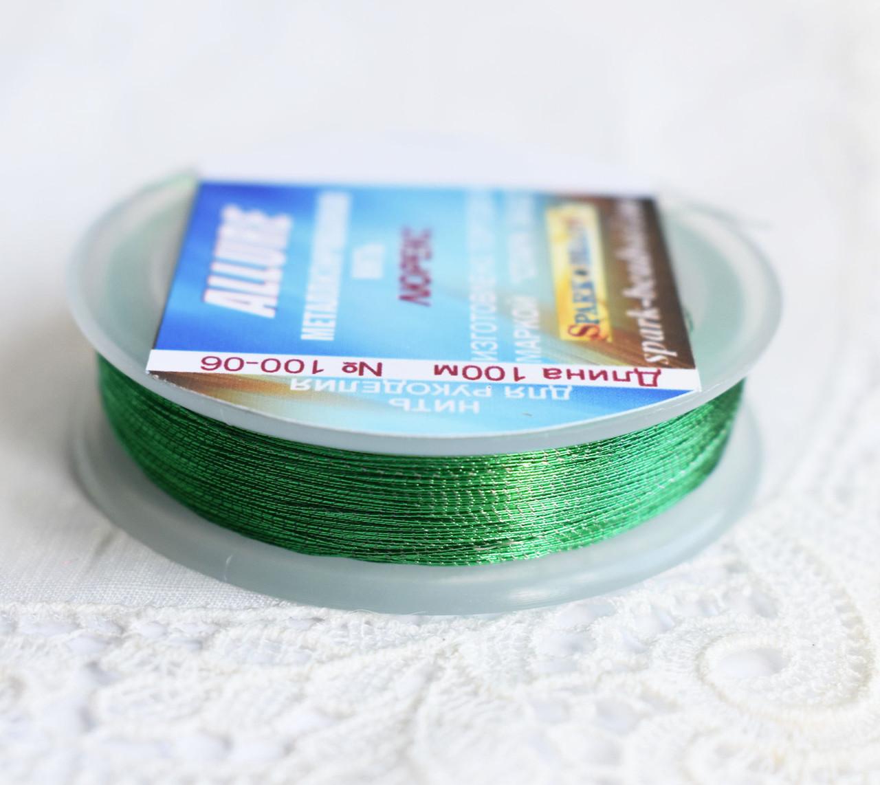 Люрекс ALLURE, зеленый, 100м, Spark Beads