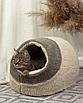 Домик лежанка для котов собак теплый меховой кремовый бежевый, фото 3