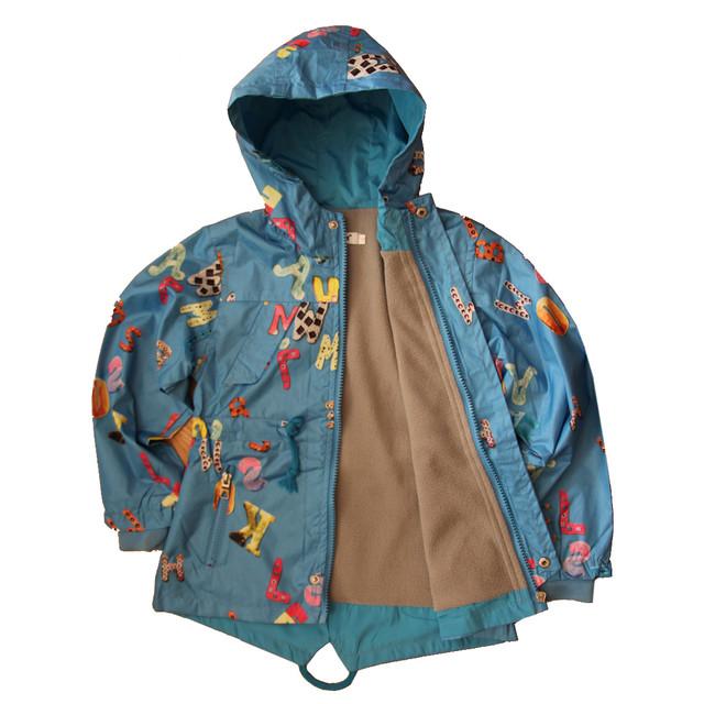 Практичная ветровка детская дождевик на флисеголубая
