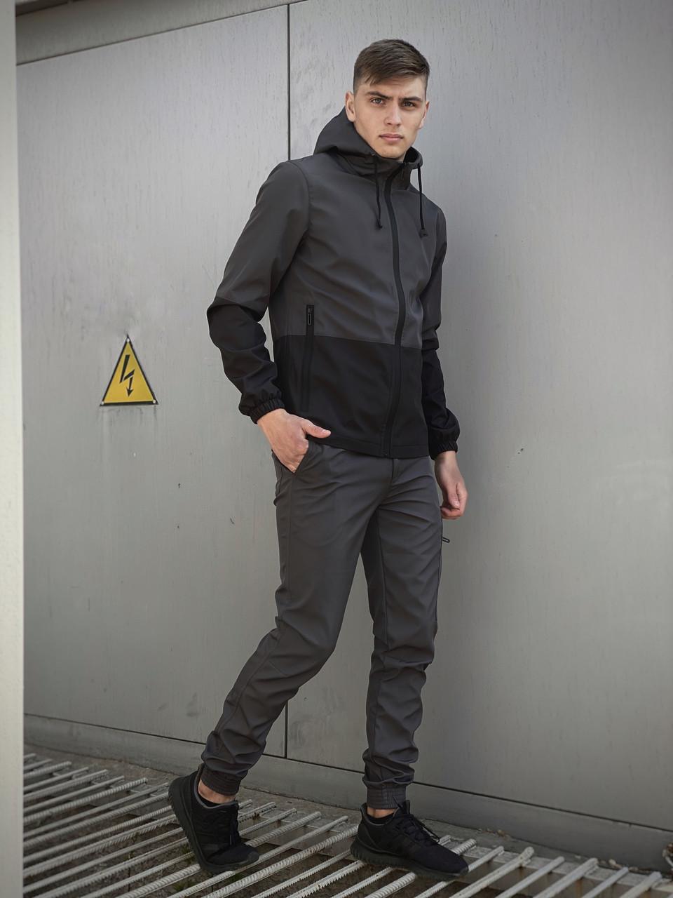 Мужской костюм серо-черный демисезонный Intruder Softshell Light
