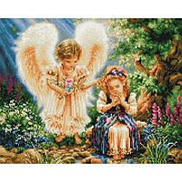 Алмазная живопись мозаика по номерам на холсте 40*50см BrushMe GJ2093 Девочка с ангелом