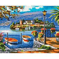 Алмазная живопись мозаика по номерам на холсте 40*50см BrushMe GJ3881 Набережная с лодками