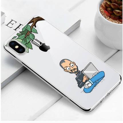 "Чехол TPU прозрачный, мягкий с изображением ""Хакер"" iPhone 6/6S, фото 2"