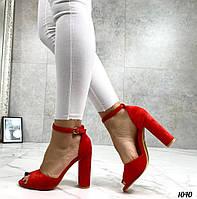 Код 1040 Босоножки Mi lady Цвет: красный Материал: эко-замш Каблук: 10 см Размерность: 35-40 (в размер), фото 1