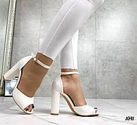 Код 1041 Босоножки Mi lady Цвет: белый Материал: эко-кожа Каблук: 11 см Размерность: 36-40 (в размер), фото 1