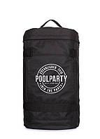 Місткий рюкзак спортивний чорний циліндричної форми Poolparty