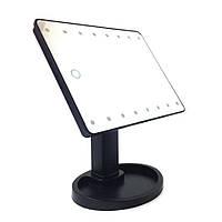 Косметическое настольное зеркало с подсветкой для макияжа Magic Makeup Mirror 16 LED- чёрное , Зеркала косметические