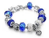 Браслет в стиле Pandora Пандора Сердце (реплика) - синий , Браслеты