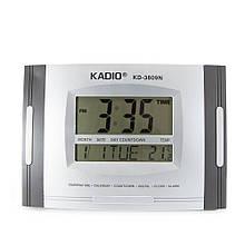 Цифровые часы Kadio (KD-3809N), Серые, настольные часы электронные, часы будильник, Электронные настольные