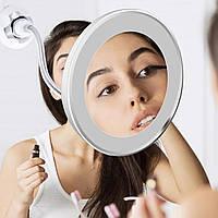 Круглое увеличительное зеркало с подсветкой для макияжа Flexible Mirror x10 на присоске , Аксессуары для ванной комнаты
