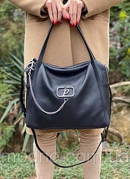 Жіноча стильна містка шкіряна сумка на і через плече Polina & Eiterou
