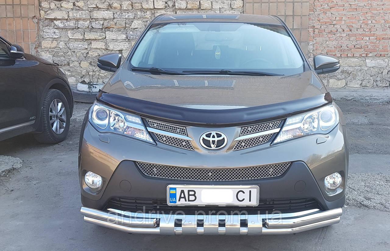 Защита переднего бампера (ус двойной SHARK) Toyota RAV4 2013-2016
