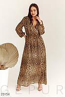 Летнее длинное шифоновое платье , леопард 2XL 4XL