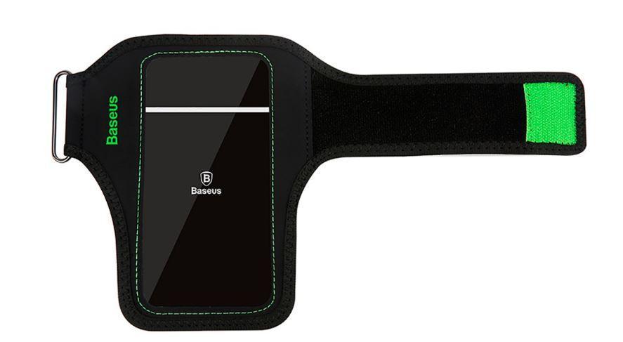 Чехол на руку BASEUS Flexible Wristband, черно-зеленый