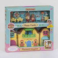 """Домик """"Счастливая семья"""" 2 фигурки флоксовые, с мебелью, подсветка, звуковые эффекты, 20030"""