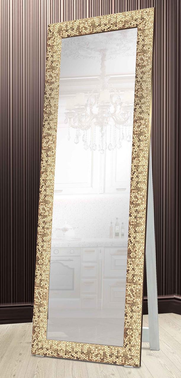 Зеркало напольное в раме Factura с деревянной подставкой Gold beehive 60х174 см золотое