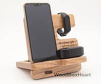 Деревянная настольная подставка для телефона Айфона