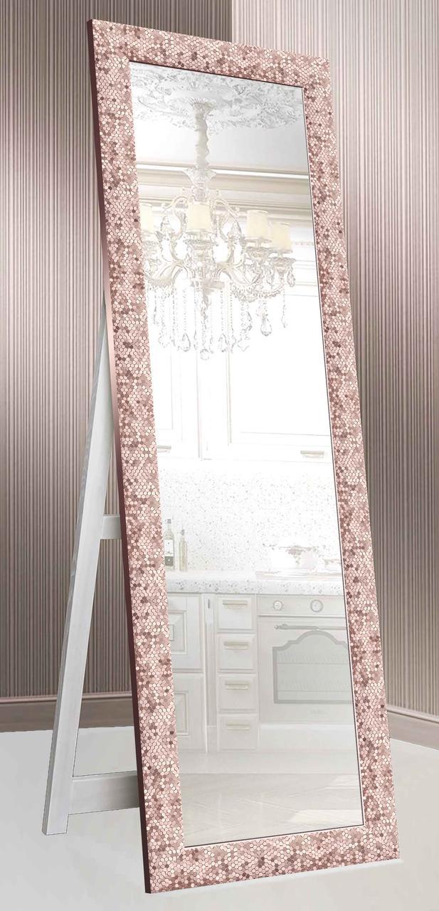 Дзеркало підлогове в рамі Factura з дерев'яною підставкою Pink вулик 60х174 см рожеве