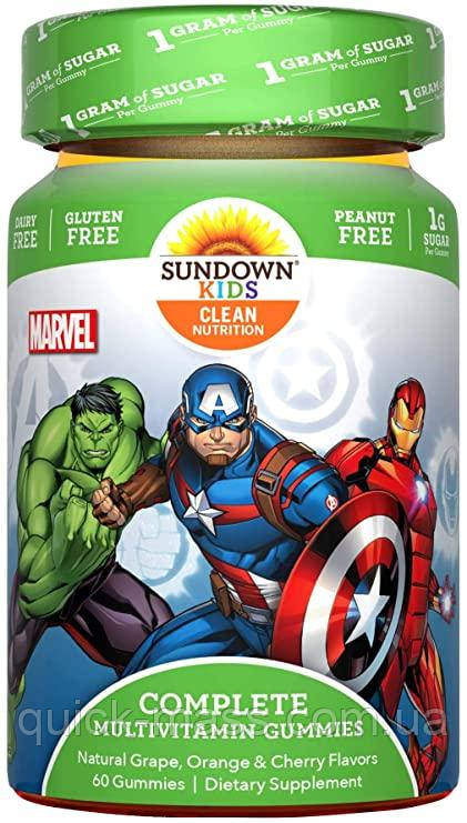Детские витамины Sundown Naturals Kids, Complete Multivitamin Gummies, Marvel Avengers 60 Gummies