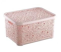 Корзина для хранения Elif Plastik Ажур 44х23х33 см розовая пудра