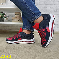 Кроссовки аирмакс на амортизаторах силиконовой подушке омбре черно-красные air max, фото 1