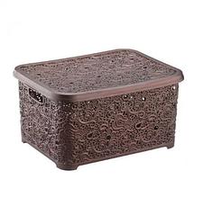 Корзина для хранения Elif Plastik Ажур 44х33х23 см коричневая