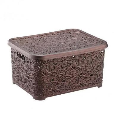 Корзина для хранения Elif Plastik Ажур 44х33х23 см коричневая, фото 2