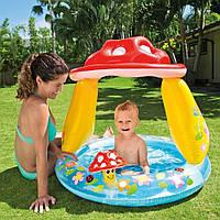 """Детский надувной бассейн Intex """"Гриб"""" с навесом для малышей, 57114, 102*89см"""