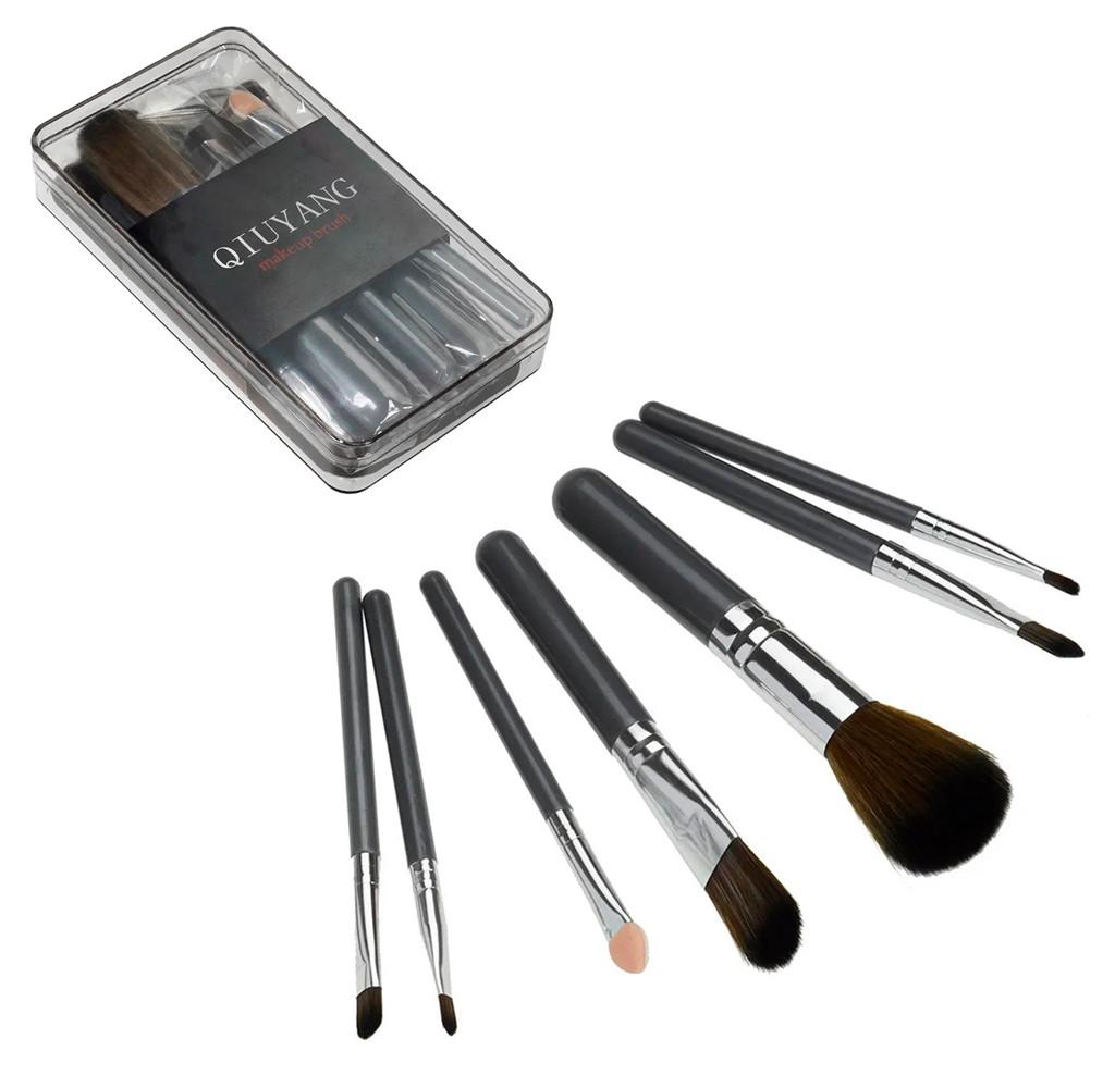 🔝 Базовые кисти для макияжа 7 шт (пластиковый кейс, Серый) набор кистей (кисточек) пензлі для макіяжу | 🎁%🚚