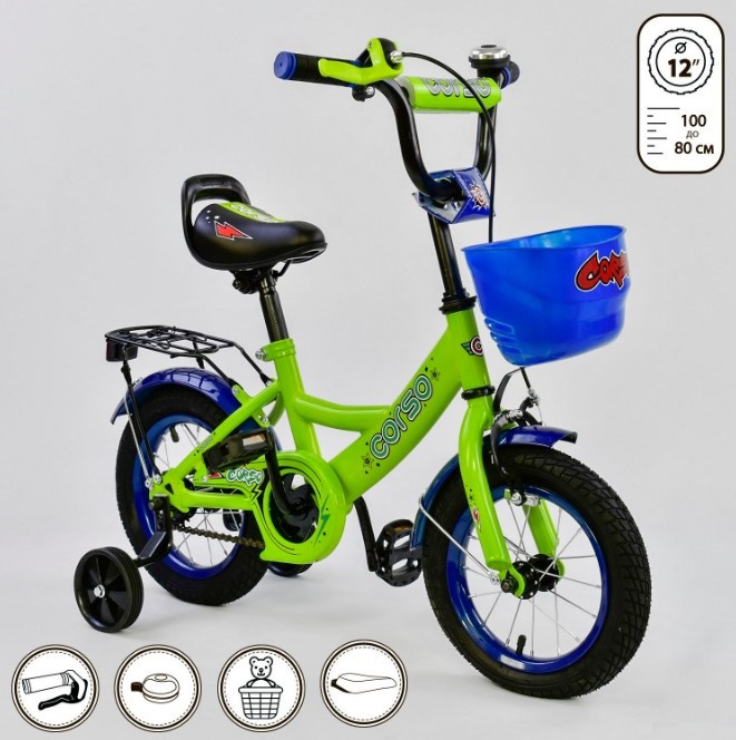 Велосипед детский двухколесный 12 зеленый Corso G-12042