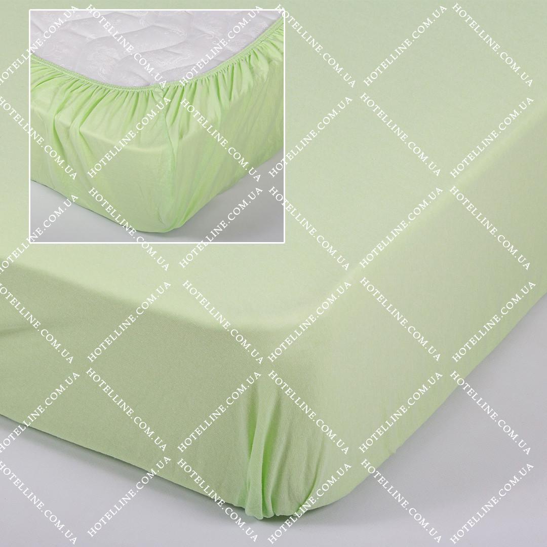 Простынь трикотажная на резинке - Салатовая 160*200+25 см.