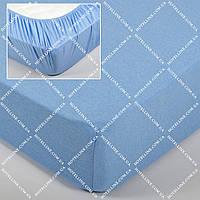 Простынь трикотажная на резинке - Голубая 160*200+25 см.