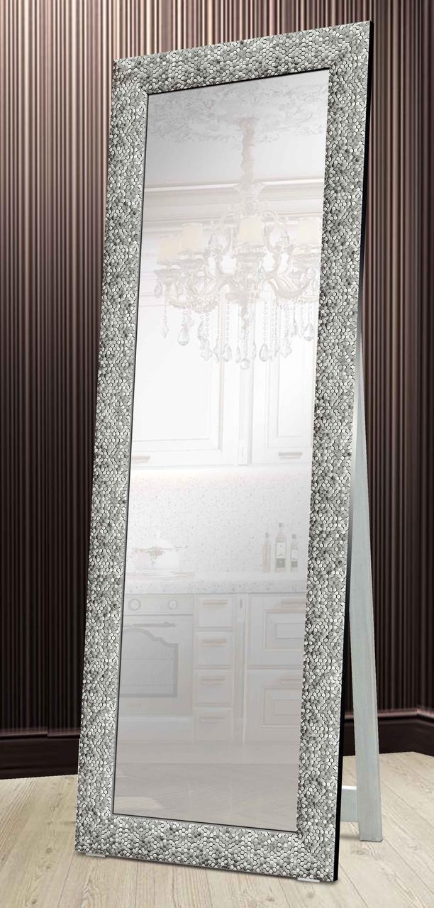 Зеркало напольное в раме Factura с деревянной подставкой Graphite beehive 60х174 см графит
