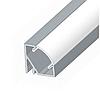 Комплект. Профіль кутовий алюмінієвий LED ЛПУ17 17х17 не анодований (палиця 2м) + розсіювач