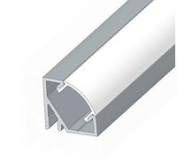 Комплект. Профиль алюминиевый LED угловой ЛПУ17 17х17 не анодированный (палка 2м) + рассеиватель